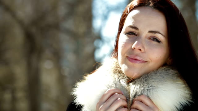 Face Of Smiling Woman in Fur video