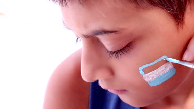 Face painting flag of Argentina video