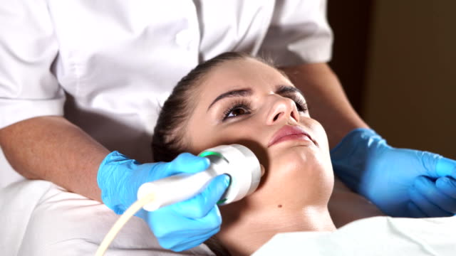 Face skin care. Anti-aging RF-therapy. video