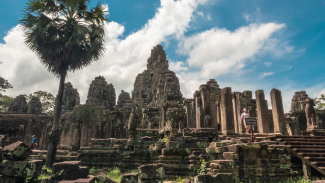 Faces of Bayon temple in Angkor Thom video
