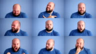 Facial expressions montage of adult man on blue background video