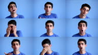 Facial expressions montage of young man on blue background video