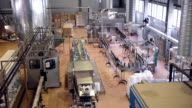 Factory inside. Production line. Pop and Soda, carbonated drink, factory line video