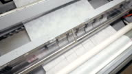 Factory machine cutting paper. 4K. video