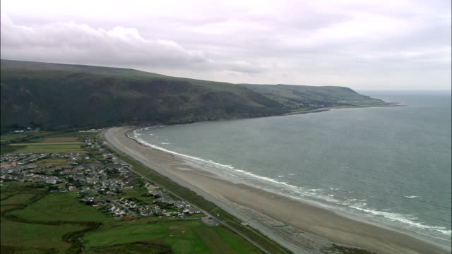 Fairbourne - Aerial View - Wales, Caernarfonshire and Merionethshire, Harlech, United Kingdom video