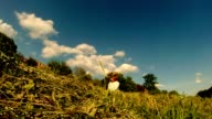 fair-haired daughter of a farmer weaves a wreath made of straw, on the background of blue sky with floating clouds video
