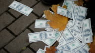 Fake dollars lying on the ground, janitor collecting them, money depreciation video