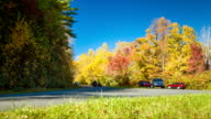 Fall Colors and Blue Sky with Carolina Mountain Traffic video