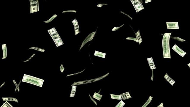 Falling 100 dollar bills with an alpha. Seamless loop video