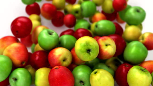 Falling apples fill the screen video