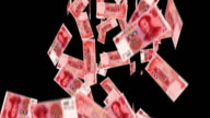 Falling Chinese 100 Yuan bills with alpha mask video