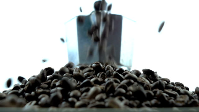 Falling coffee beans into moka pot video