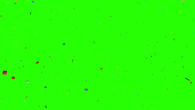 falling colorful glitter foil confetti, animation 3d movement on chroma key green screen background, holiday and festive fun video