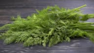 Falling dill (fennel) sprigs on wooden background. Slow motion video