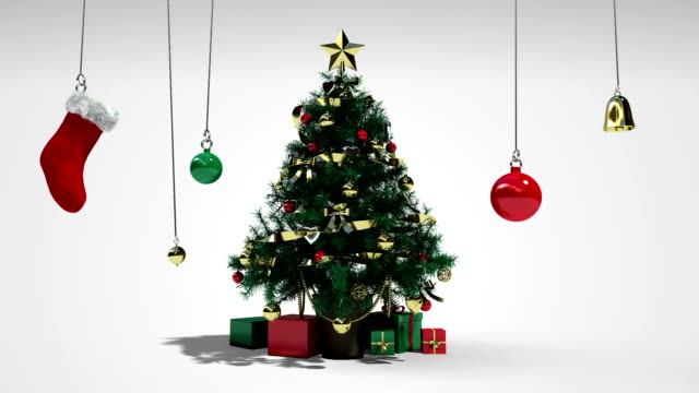 Falling down christmas tree and gifts video