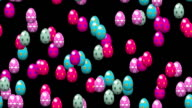 Falling easter eggs seamless loop with alpha video