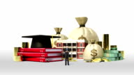 Falling Education expenses loan sign, school, collage, university campus building with money video