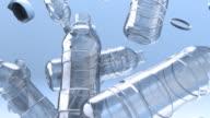 Falling empty water bottles video