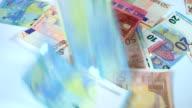 Falling Euro banknotes video
