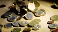 Falling Euro Coins in Slow Motion video