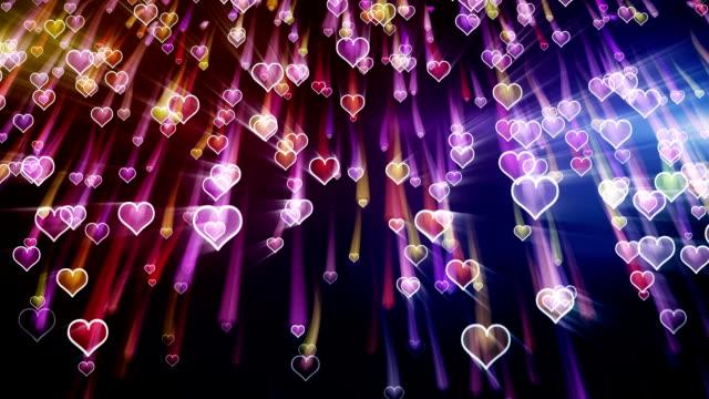 falling hearts romantic loop background video