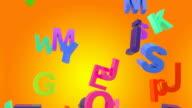Falling letters on orange background video