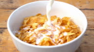Falling of corn flake in real slow motion (250 FPS) video