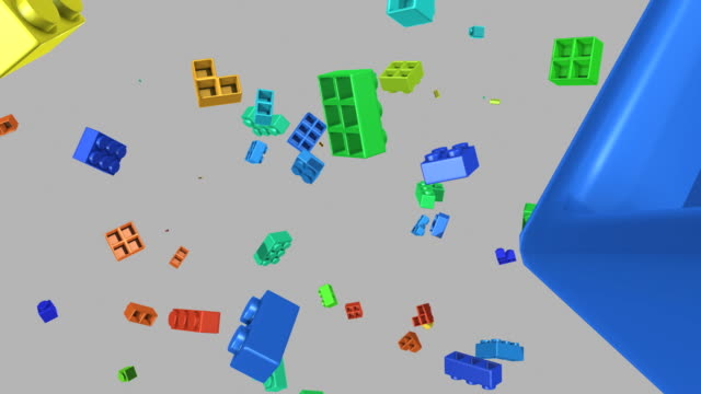 falling lego pieces video