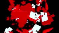 Falling puzzle pieces in red and white colors video