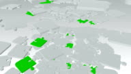 Falling, rotating abstract puzzle pieces in white and green video