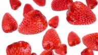 Falling strawberries in the studio. Luma included. video