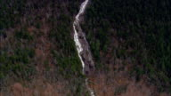 Falls In Crawford Notch State Park  - Aerial View - New Hampshire,  Coös County,  United States video