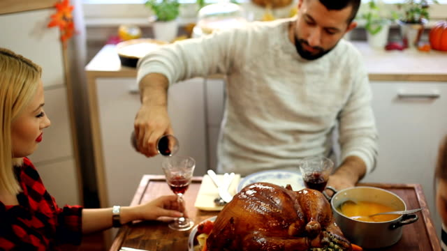 Families Have a Traditional Holiday Dinner video