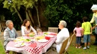 Family and grandparents having a barbecue video