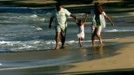Family at beach swing young daughter video