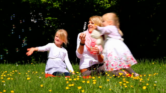 Family blowing bubbles in the park video
