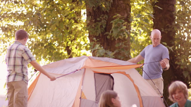Family camping in the great outdoors video