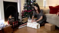 Family Christmas: wrapping presents video