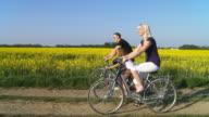 HD STEADY SHOT: Family Cycling Along Fields video