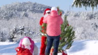 Family decorating a Christmas tree in winter forest video