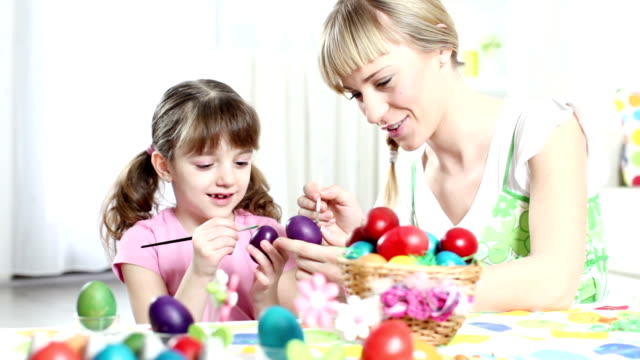 HD: Family Decorating Easter Eggs video