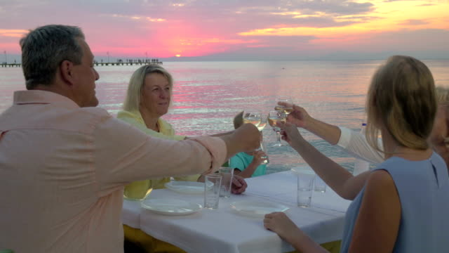 Family dinner by the sea at sunset video