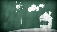 Family. drawing on a blackboard video