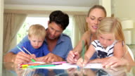 Family Drawing Picture Together At Home video