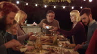 DS Family enjoying a barbecue dinner in the evening video