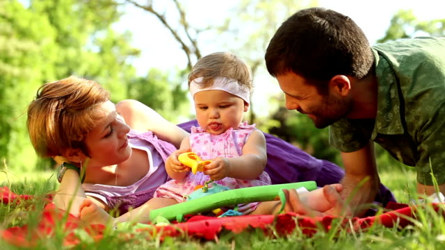 Family enjoying a day in the park. video