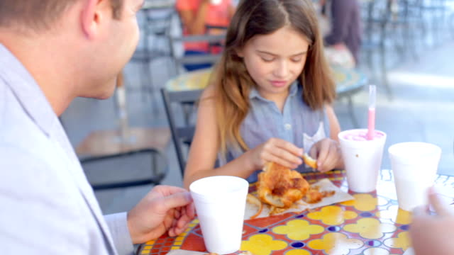 Family Enjoying Snack At Outdoor Café video