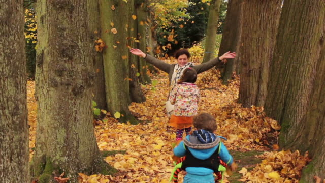 Family Enjoying The Autumn Fall video