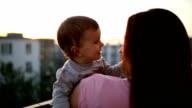 Family enjoying the sunset video