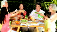 Family Generations Sharing Healthy Lunch video